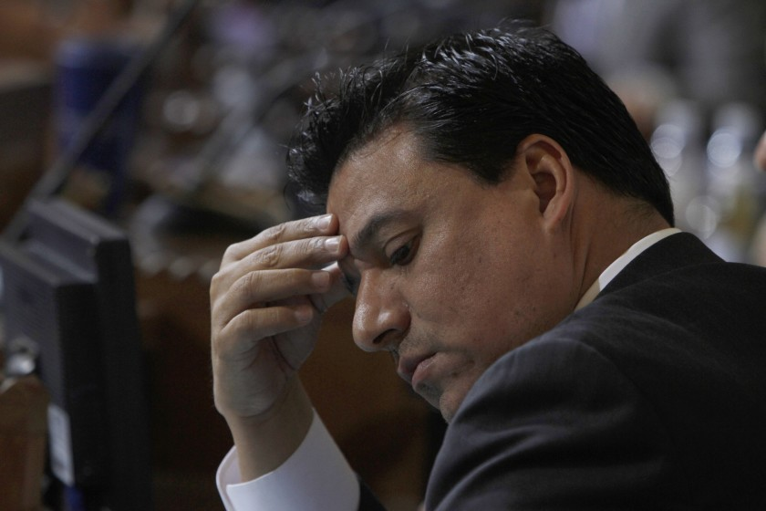 Los Angeles City Councilman Jose Huizar is shown at a meeting in February 2020. (Francine Orr / Los Angeles Times)