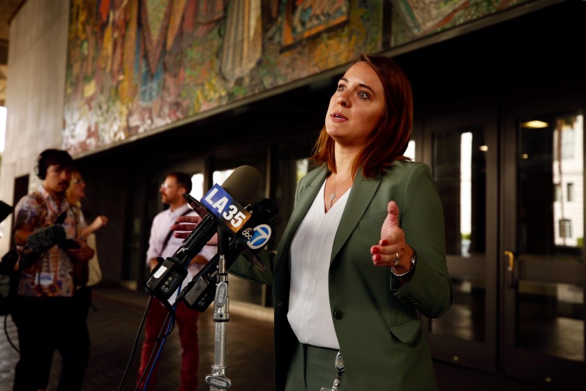 Heidi Marston, who heads the Los Angeles Homeless Services Authority, speaks to reporters in 2019.(Al Seib / Los Angeles Times)