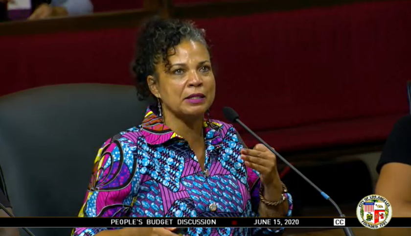Melina Abdullah, a co-founder of Black Lives Matter Los Angeles, told L.A. City Council members Monday that there is widespread support for defunding the LAPD.(City of Los Angeles via L.A. Times)
