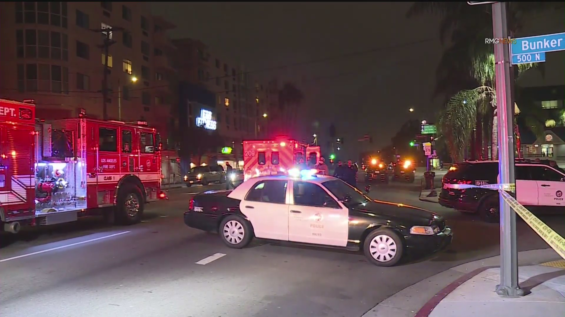 Police respond to a shooting in downtown Los Angeles on June 4, 2020. (KTLA)