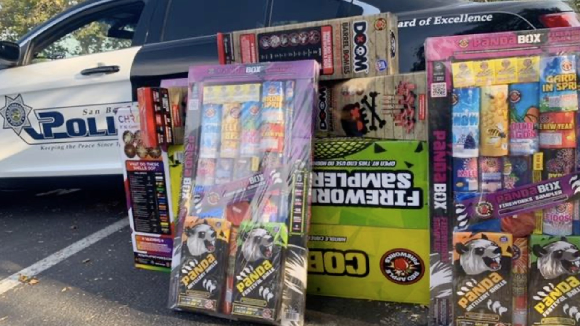 Some of the fireworks seized by the San Bernardino Police Department are seen in an image posted on its Facebook page.