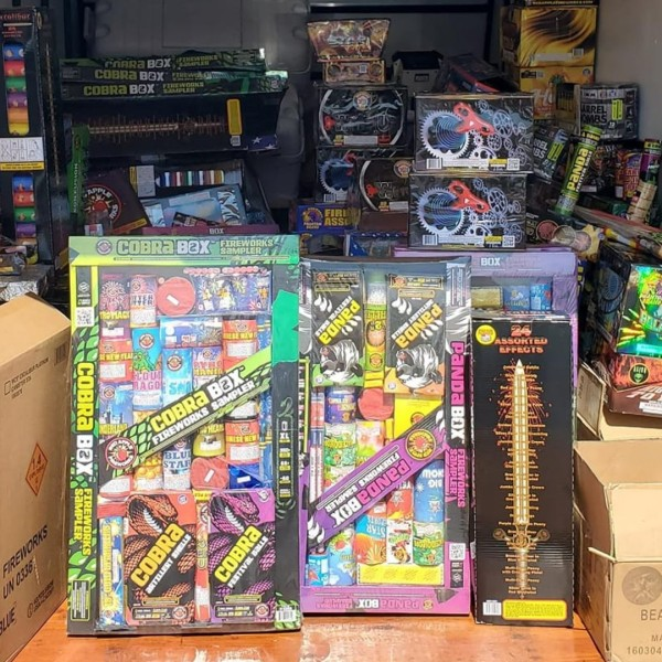 The Carson Sheriff's Station released this photo of the seized fireworks on June 15, 2020.