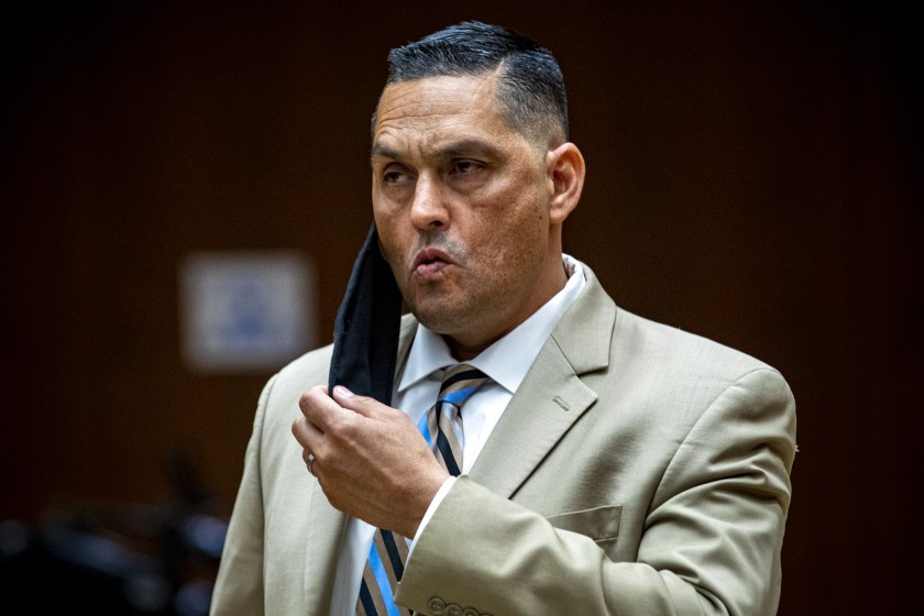 LAPD Officer Frank Hernandez pleaded not guilty to assault charges on June 11, 2020 after a video showed him repeatedly punching an unarmed homeless man in Boyle Heights. (Irfan Khan / Los Angeles Times)