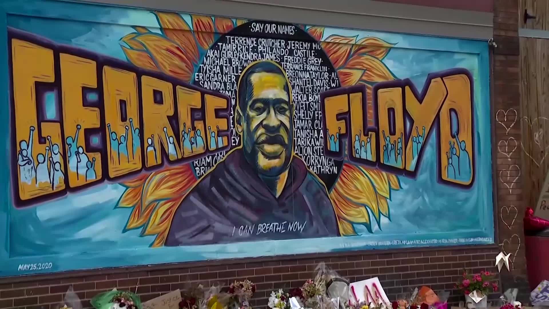 A file image of a mural of George Floyd in Minneapolis.
