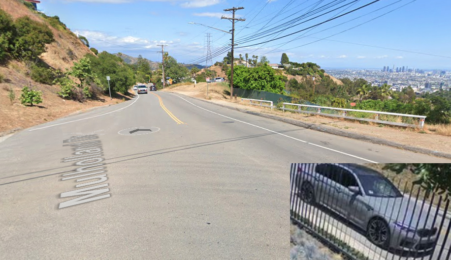 Mulholland Drive and Pacific View Trail is shown in a Street View image from Google Maps and a photo of the involved vehicle was provided by the Los Angeles Police Department on June 30, 2020.