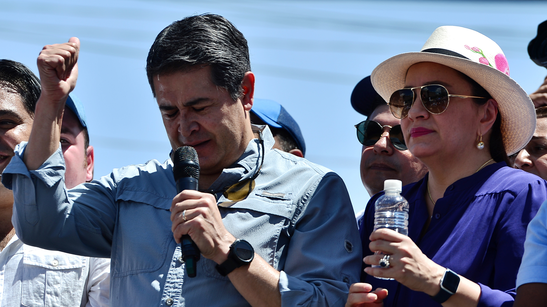 Honduran President Juan Orlando Hernandez speaks to his supporters next to his wife Ana Garcia Hernandez in Tegucigalpa on Oct. 20, 2019. (ORLANDO SIERRA/AFP via Getty Images)