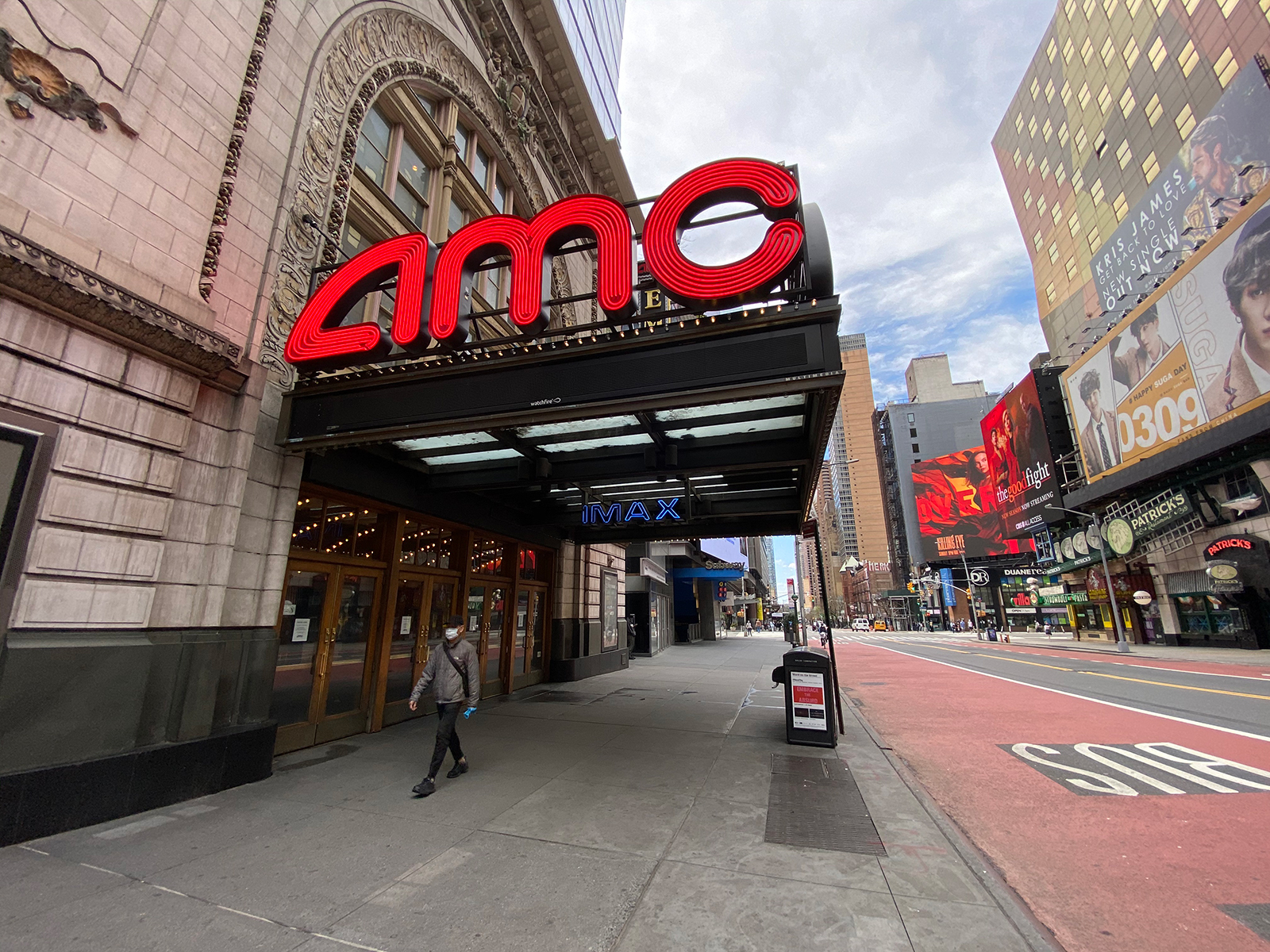 An AMC movie theater in Times Square remains closed during the coronavirus pandemic on May 3, 2020 in New York City. (Rob Kim/Getty Images)