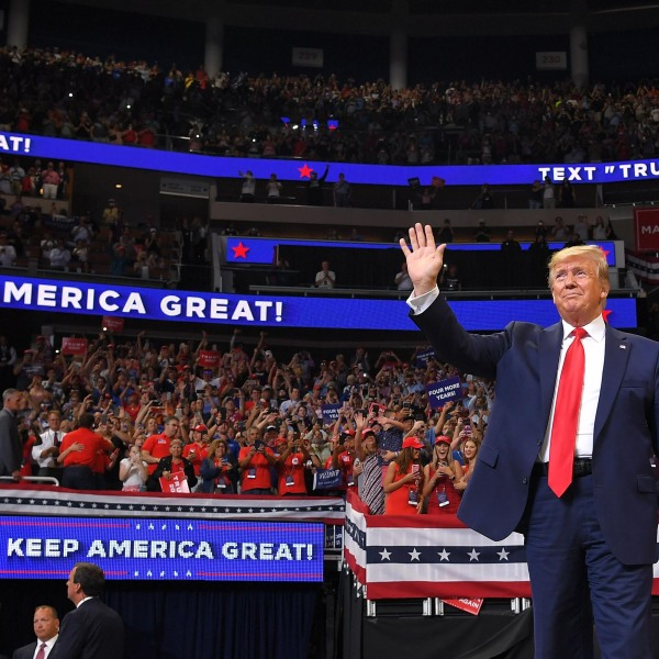 President Donald Trump arrives to speak during a rally at the Amway Center in Orlando, Florida to officially launch his 2020 campaign on June 18, 2019. (MANDEL NGAN / AFP) via Getty Images)
