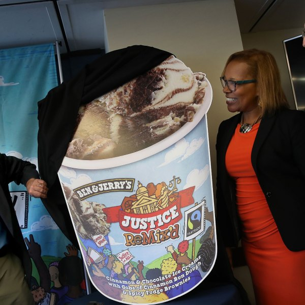 Ben & Jerry's co-founders Ben Cohen (L) and Jerry Greenfield (R) announce the new flavor, Justice Remix'd, during a press conference with Advancement Project executive director Judith Dianis (C) on September 03, 2019 in Washington, DC. (Win McNamee/Getty Images)