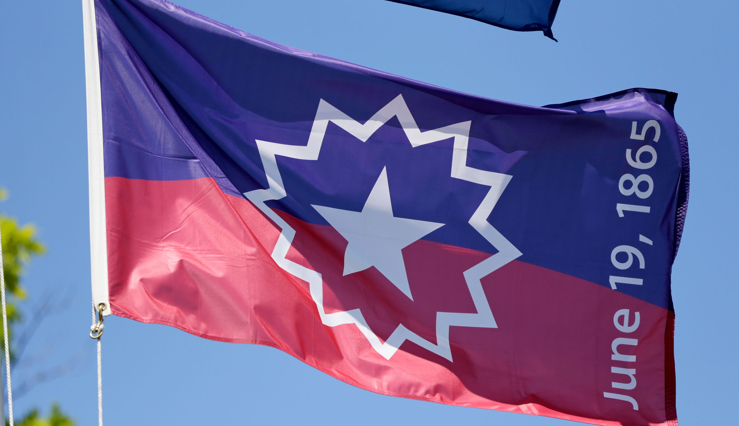 The Juneteenth flag is a symbolic representation of the end of slavery in the United States. (Nati Harnik/AP via CNN Wire)