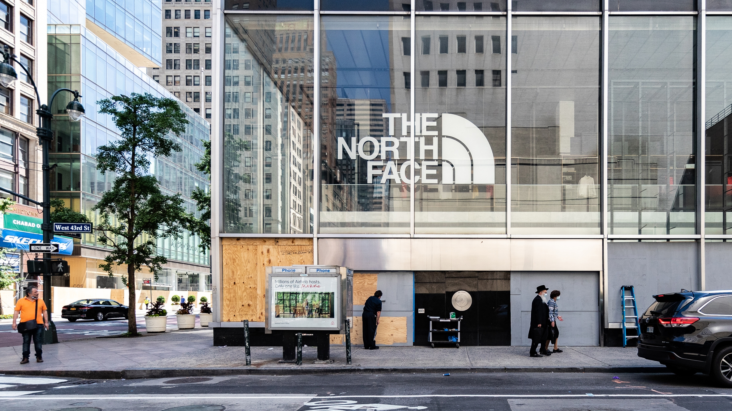 A boarded up North Face Inc. store stands in New York, U.S., on Tuesday, June 9, 2020. New York City, which experienced the biggest and deadliest Covid-19 outbreakin the country, beganreopeningon June 8. (Jeenah Moon/Bloomberg via Getty Images)