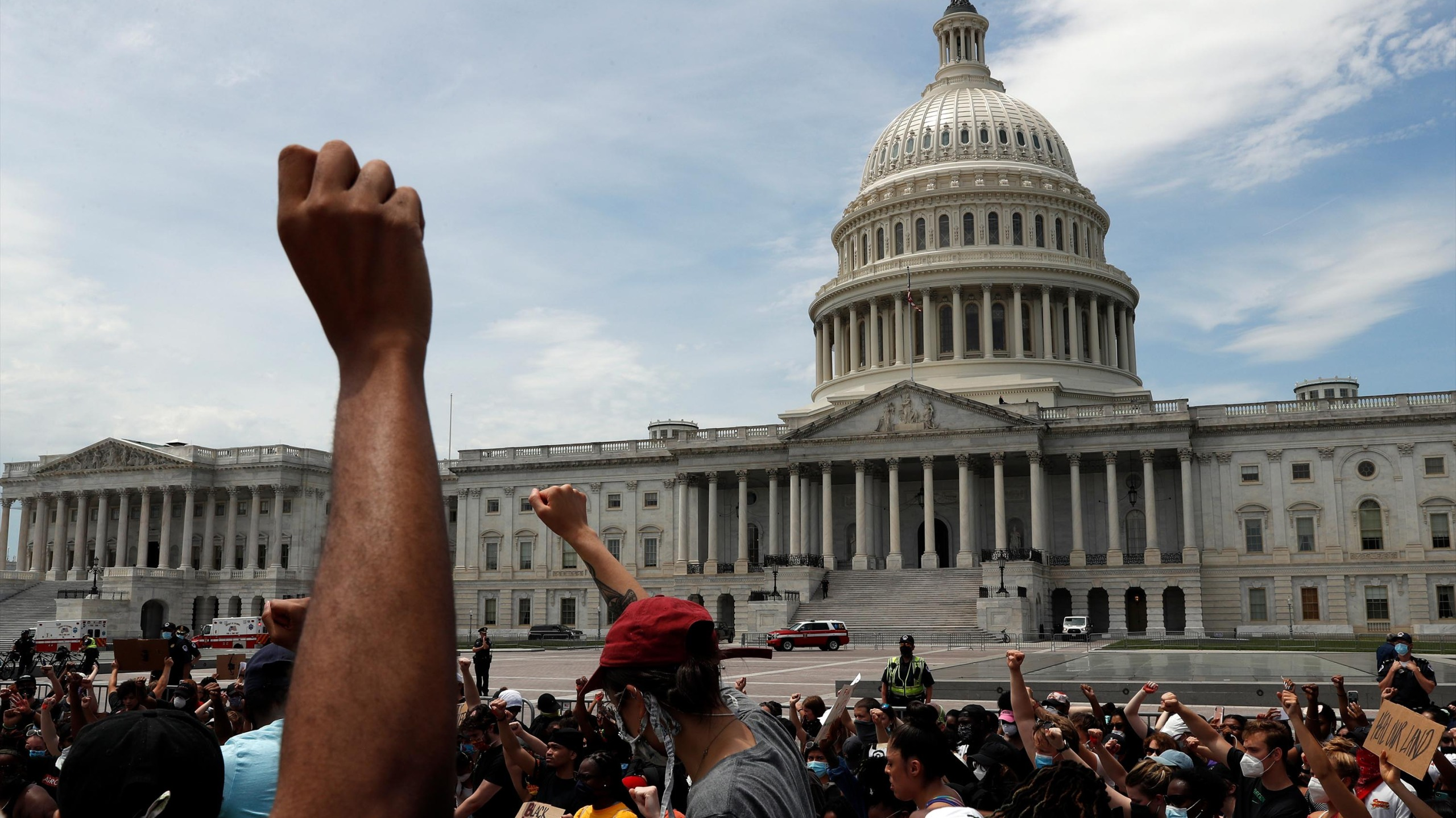 Demonstrators protest the death of George Floyd as they gather Wednesday, June 3, 2020, on the East side of the U.S. Capitol in Washington. (Jacquelyn Martin/AP)