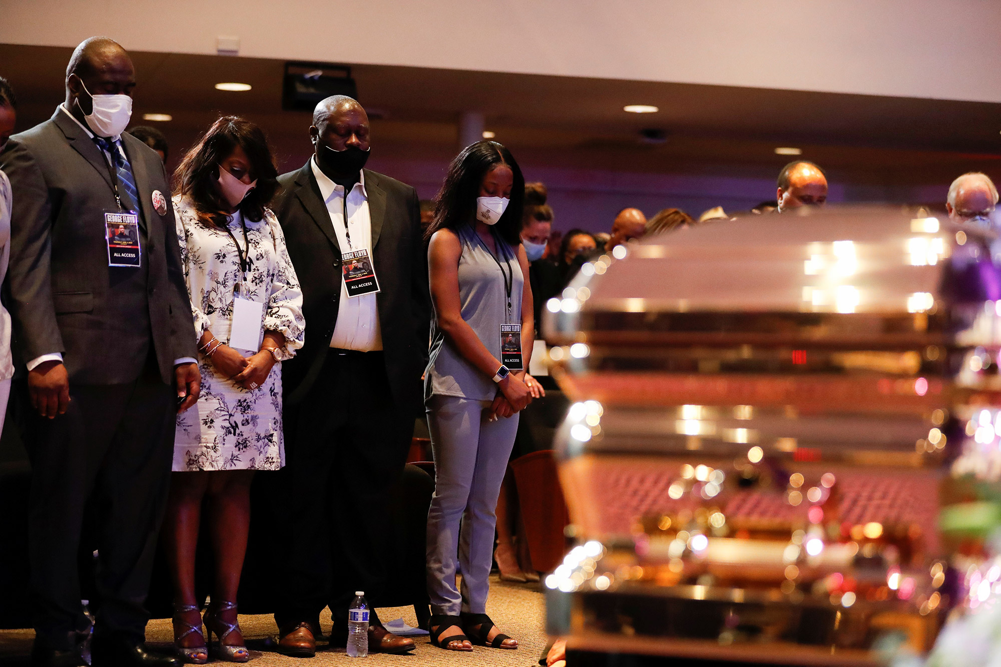 Family members of George Floyd attend a memorial service for George Floyd following his death in Minneapolis police custody, in Minneapolis, Minnesota. (Lucas Jackson/Reuters via CNN Wire)