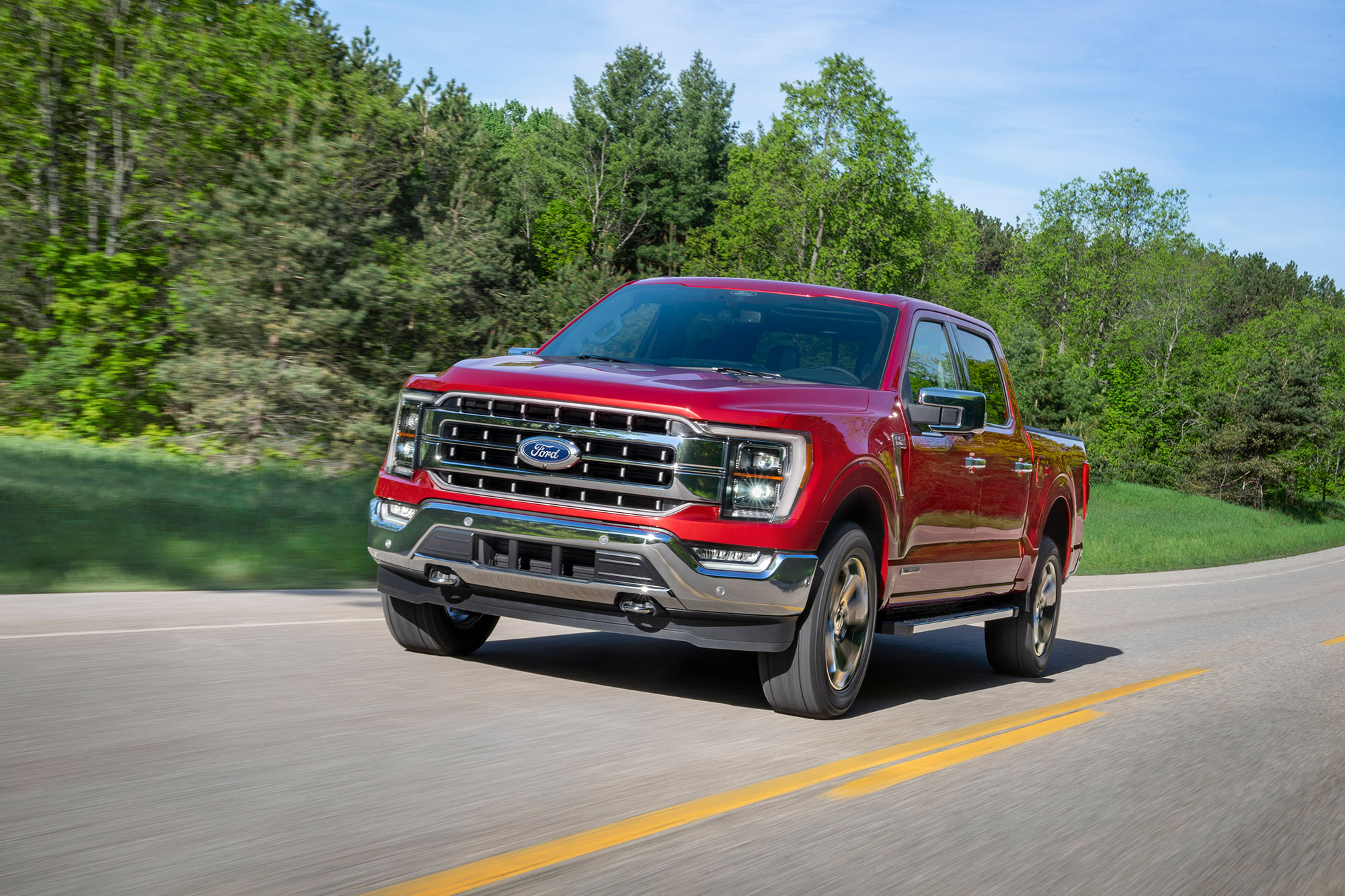 All-new F-150 Lariat in Rapid Red Metallic Tinted Clearcoat. (Ford Motor Company)