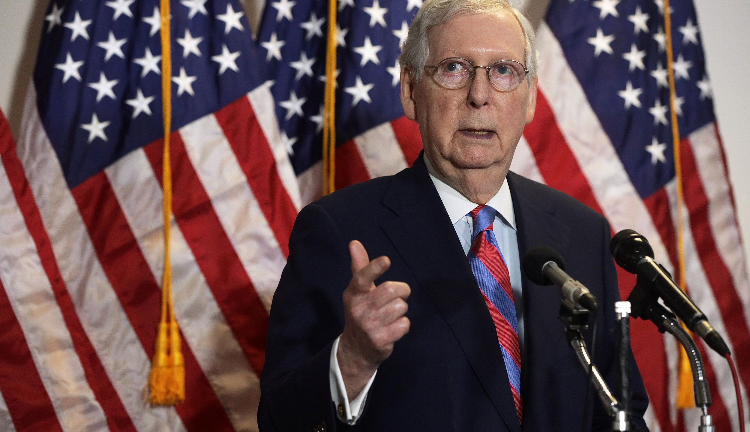 Senate Majority Leader Sen. Mitch McConnell speaks to members of the press after the weekly Senate Republican Policy Luncheon at Hart Senate Office Building May 12, 2020 on Capitol Hill in Washington, DC. (Alex Wong/Getty Images via CNN Wire)