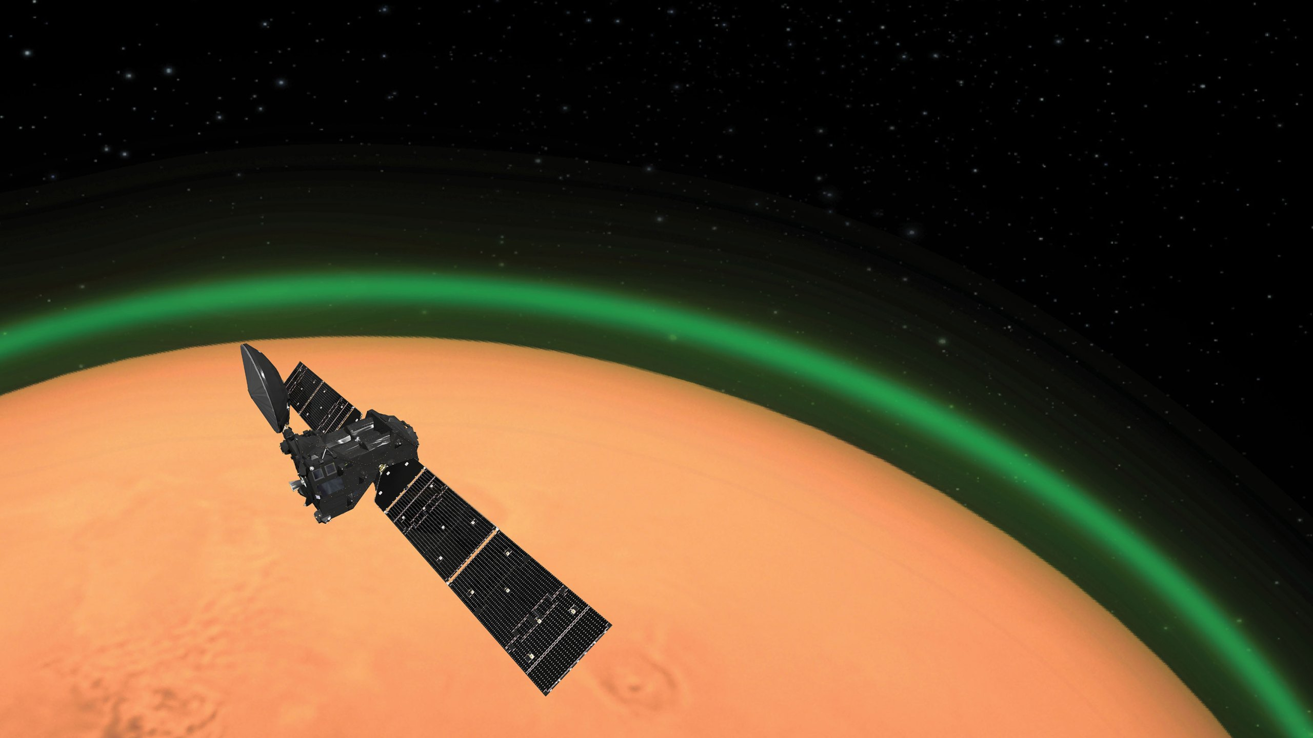 ExoMars spots unique green glow at the Red Planet (European Space Agency)