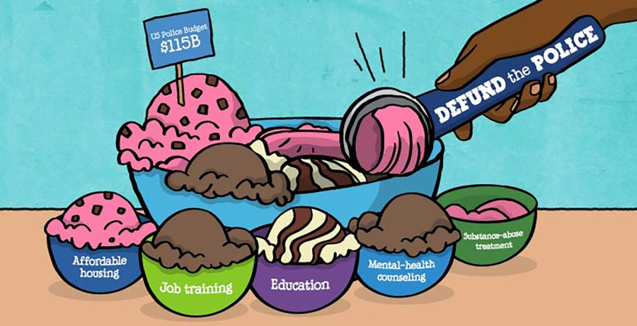 An illustration posted by Ben & Jerry's shows support for the movement to defund the police and invest in communities. (Ben & Jerry's)