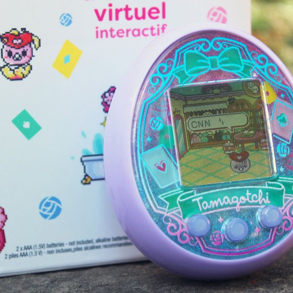 Tamagotchi, the popular toy from the 90s, is back once again with a new product called Tamagotchi On Wonder Garden. (Sofia Barrett/CNN)