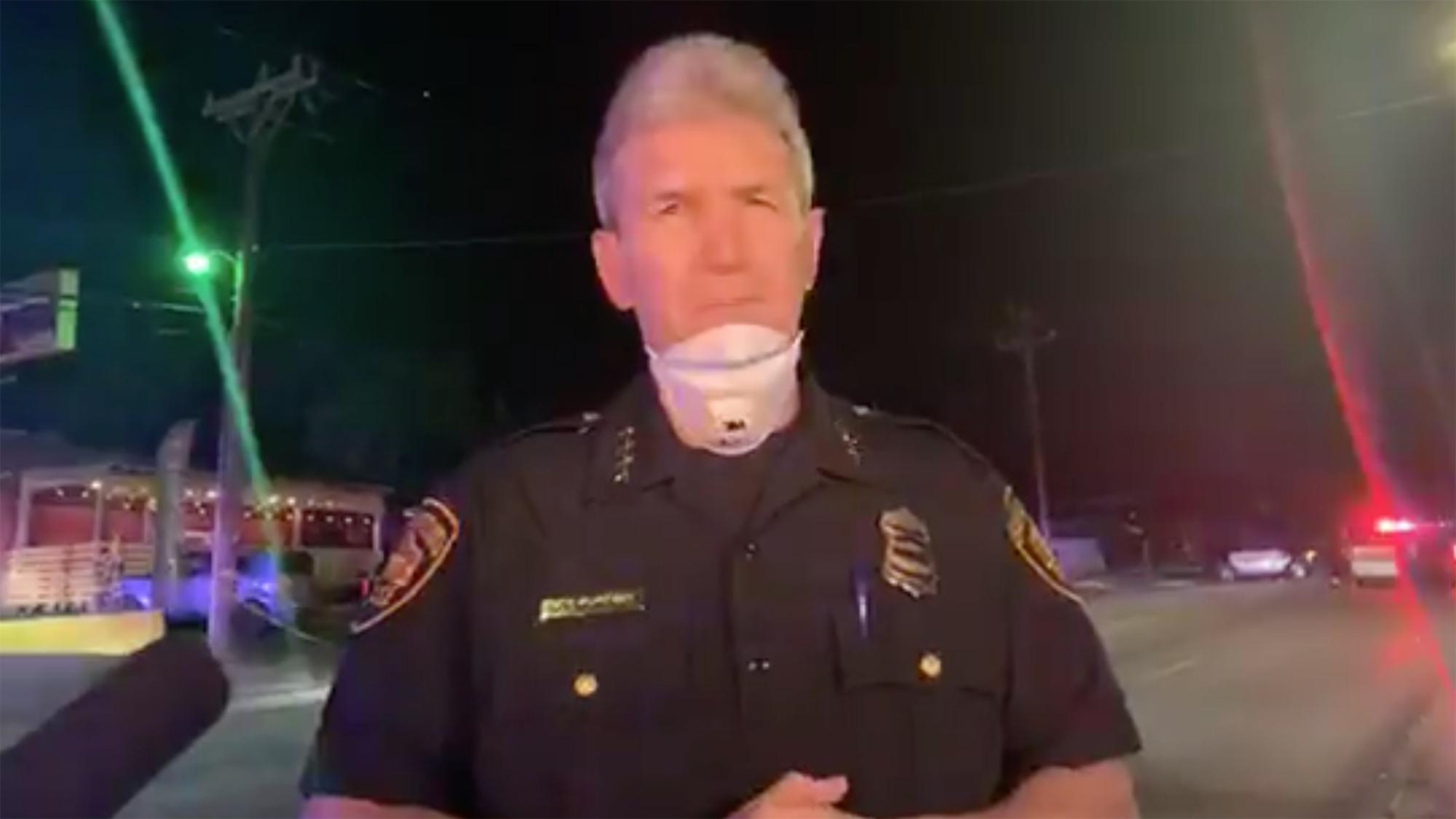 Chief William McManus gives a media briefing following a shooting with multiple victims in San Antonio, Texas. (San Antonio Police Department)