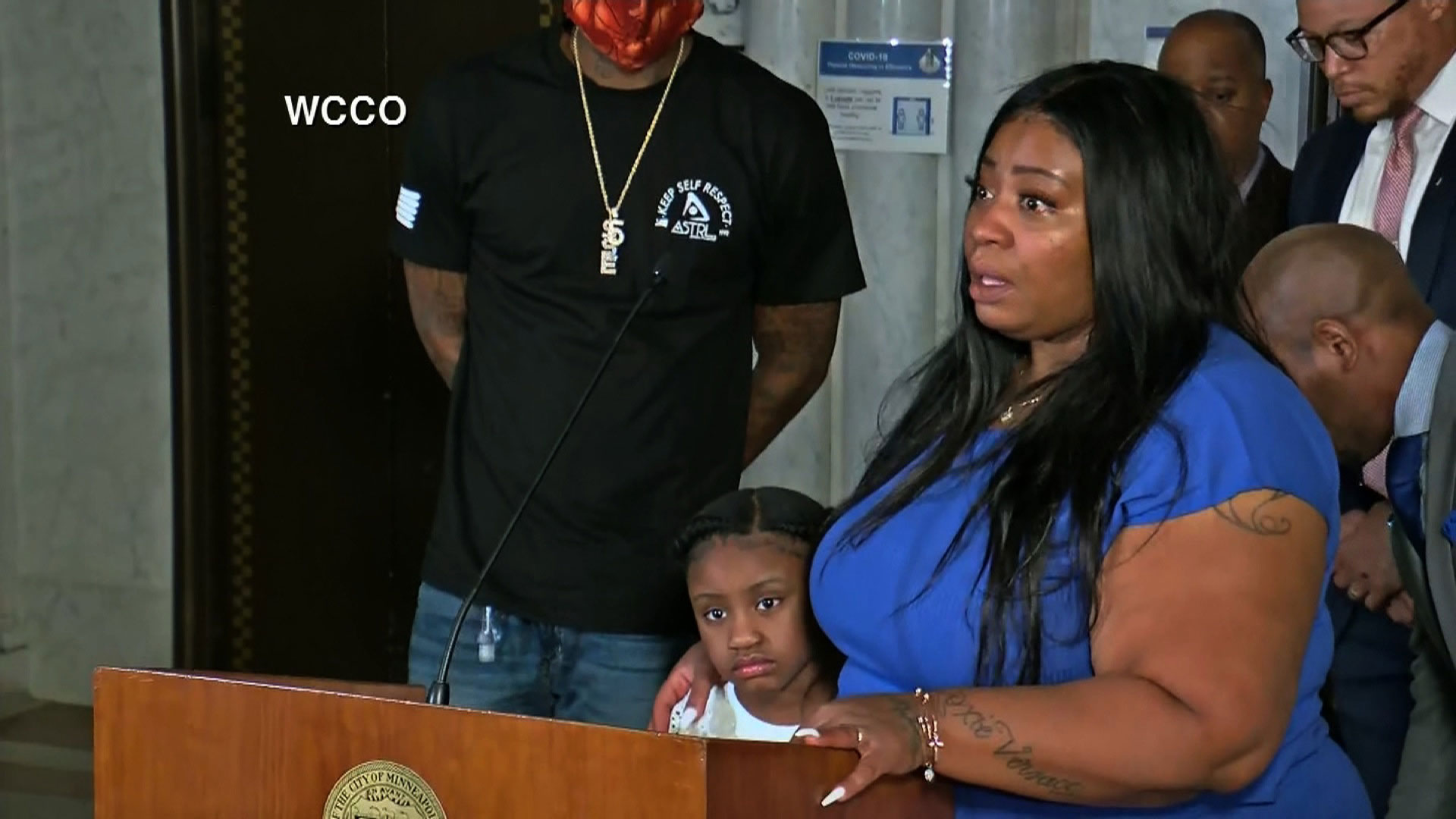 Roxie Washington spoke to reporters in Minneapolis about George Floyd and their daughter Gianna. (WCCO via CNN)