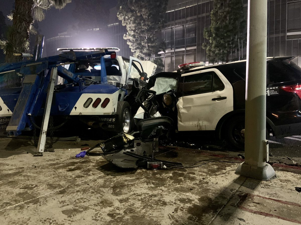 Crews respond to a crash involving an LAPD SUV and a tow truck in South Los Angeles on June 3, 2020. (LAPD)
