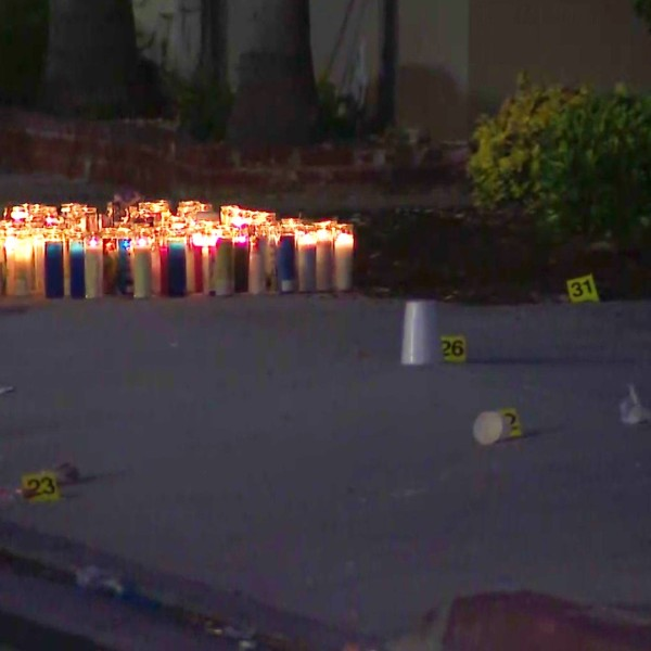 Police investigate a fatal shooting in Long Beach on June 29, 2020. The shooting occurred as the victims attended a vigil for a man killed one day earlier. (KTLA)