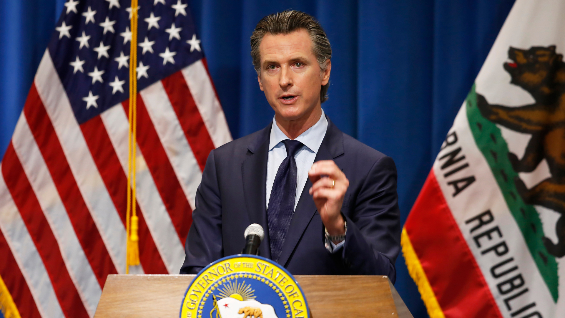 In this May 14, 2020, file photo California Gov. Gavin Newsom discusses his revised 2020-2021 state budget during a news conference in Sacramento. (Rich Pedroncelli / Associated Press)