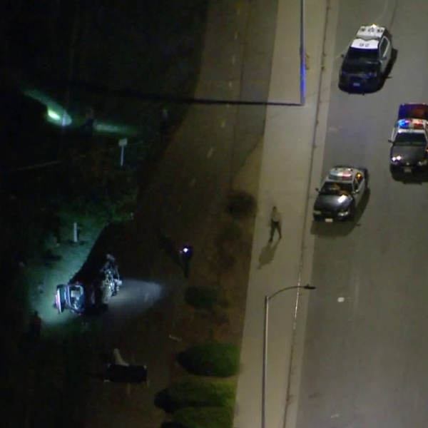 Authorities respond to the scene where a pursuit ended in a deadly crash in Palmdale on June 24, 2020. (KTLA)