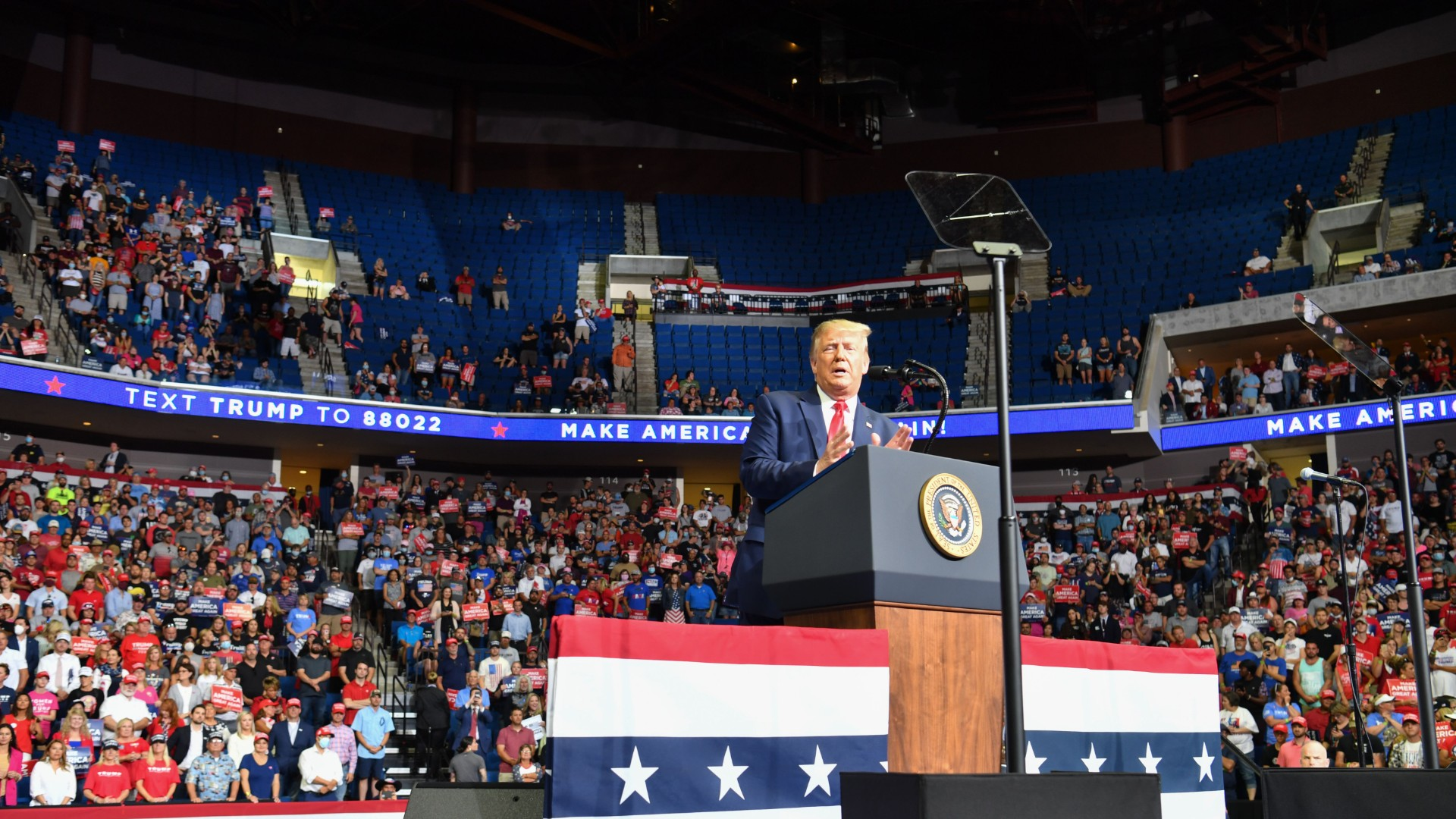 The upper section is seen partially empty as US President Donald Trump speaks during a campaign rally at the BOK Center on June 20, 2020 in Tulsa, Oklahoma. (NICHOLAS KAMM/AFP via Getty Images)