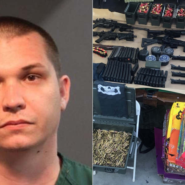 Jon Paul Worden and the cache of weapons found in his home are seen in photos released by the Santa Ana Police Department on June 2, 2020.