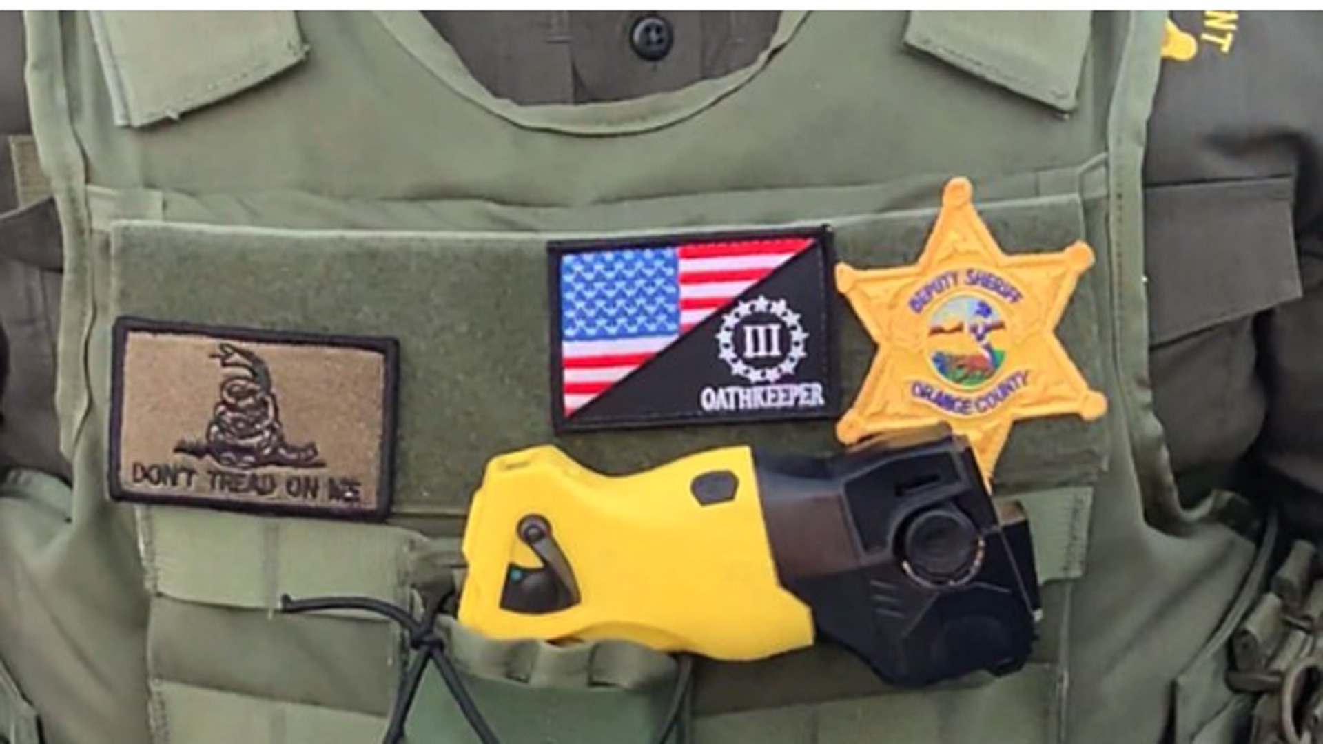 An internal investigation was launched on June 3, 2020 into an OCSD's deputy for extremist patches on his uniform. (credit @DPOC)