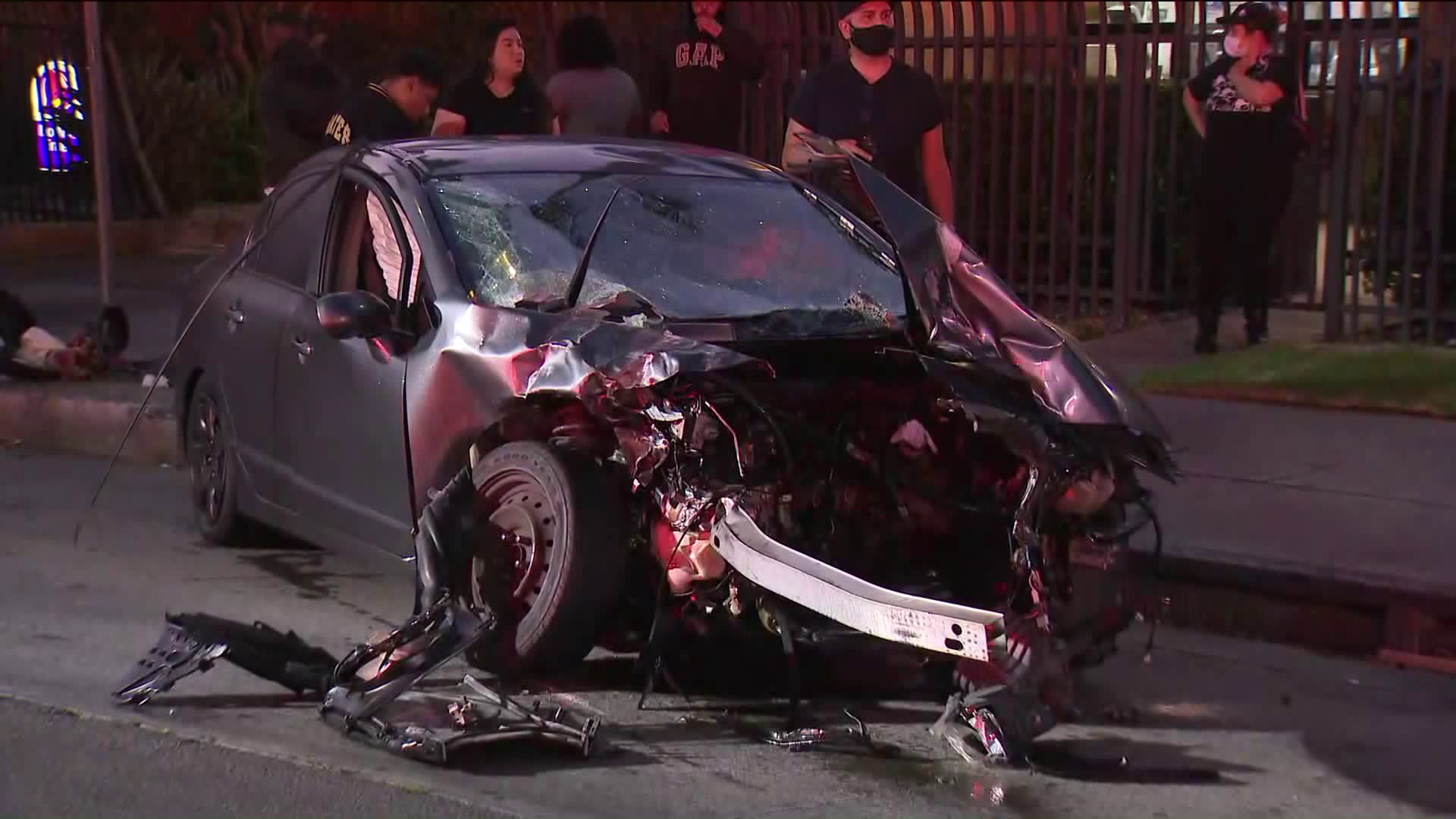 Six people were involved in a collision in the Green Meadows neighborhood of Los Angeles on July 27, 2020. (KTLA)