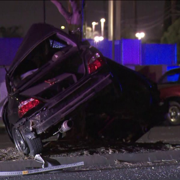 A vehicle crashed into a tree in Baldwin Park on July 29, 2020. (KTLA)
