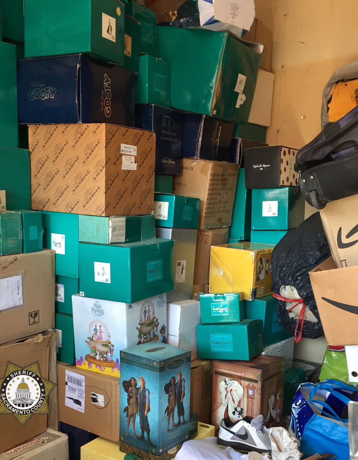 Authorities found thousands of dollars' worth of stolen Disney memorabilia in a northern Sacramento storage unit on June 30, 2020.(Sacramento County Sheriff's Department)