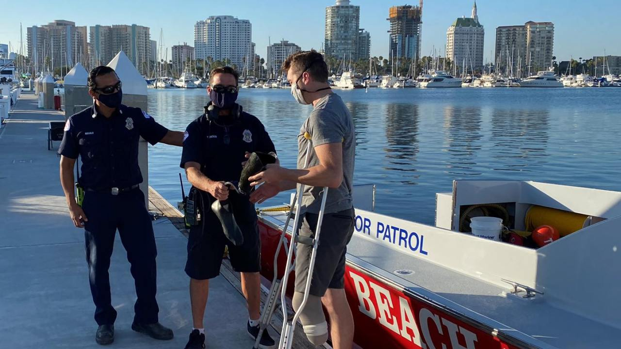 Divers recover Paralympic hopeful's prosthetic leg from bottom of Long Beach marina