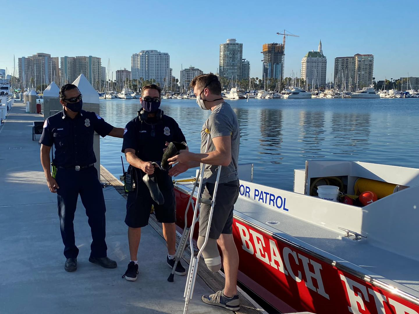 Rescue divers pulled Paralympic hopeful DeWalt Mix's prosthetic leg from the bottom of a Long Beach marina on July 28, 2020. (Long Beach Fire Department)