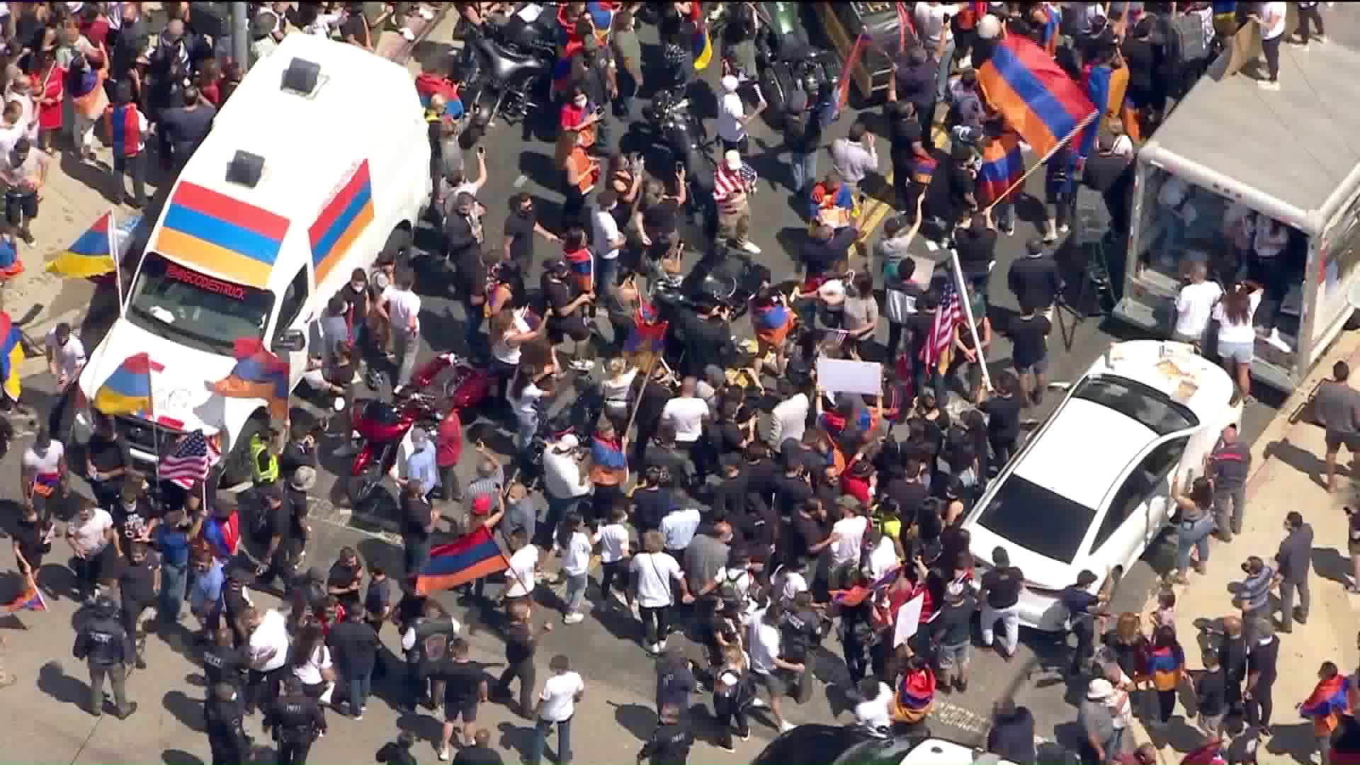 Demonstrators gather outside the Azerbaijani consulate in Los Angeles on July 21, 2020. (KTLA)