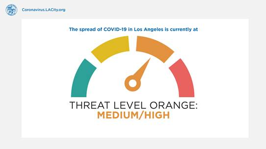 The city of L.A. released a new color-coded threat indicator regarding the spread of COVID-19. (City of Los Angeles)