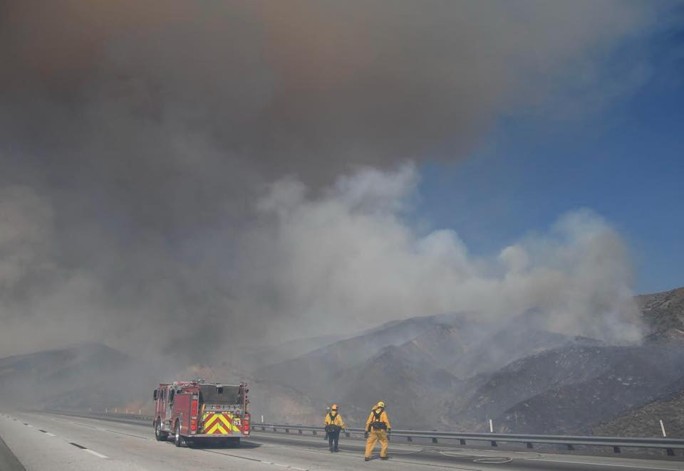 Smoke billows from the Soledad Fire on July 5, 2020. (Los Angeles County Fire Department)