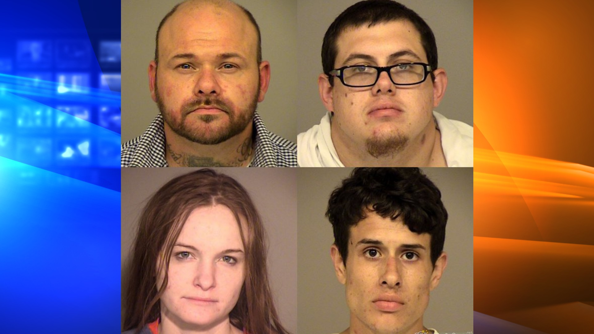 Robert Schneider, Russel Dow, Michaela Feczko and Coty Hackett are seen in booking photos released by the Ventura County Sheriff's Office on July 23, 2020.