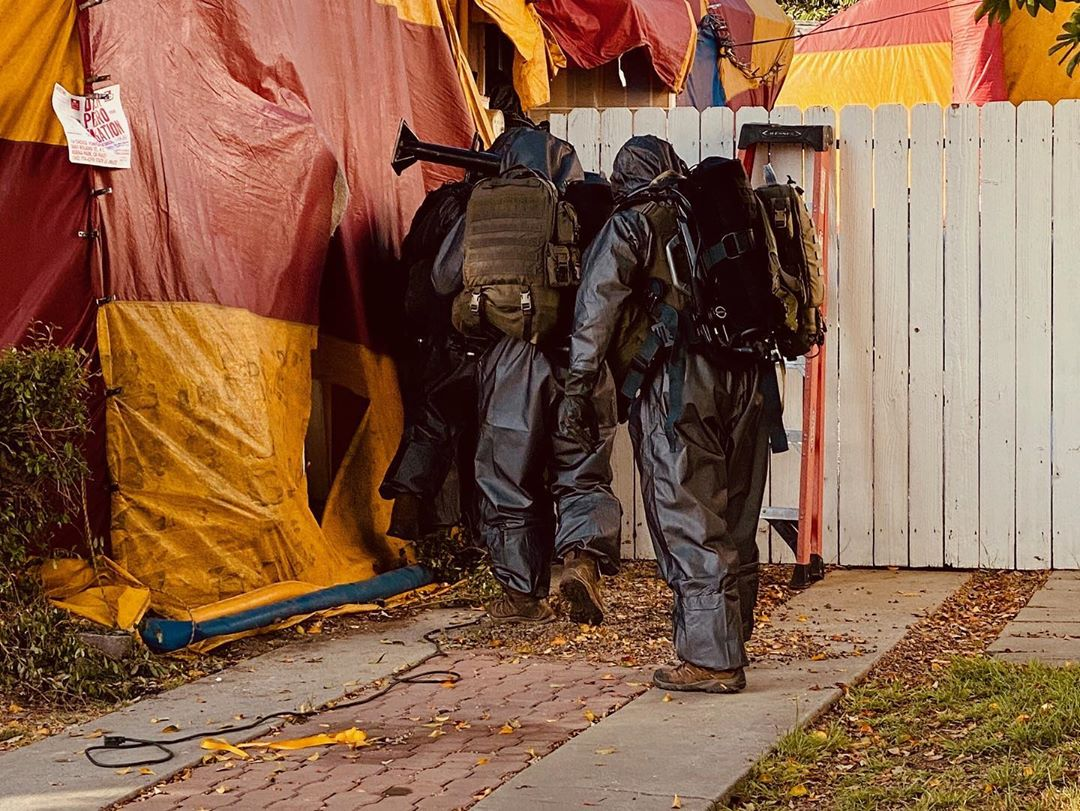 SWAT team members respond to a hazardous materials situation in Whittier on July 21, 2020, in a photo released by Los Angeles County sheriff's officials.