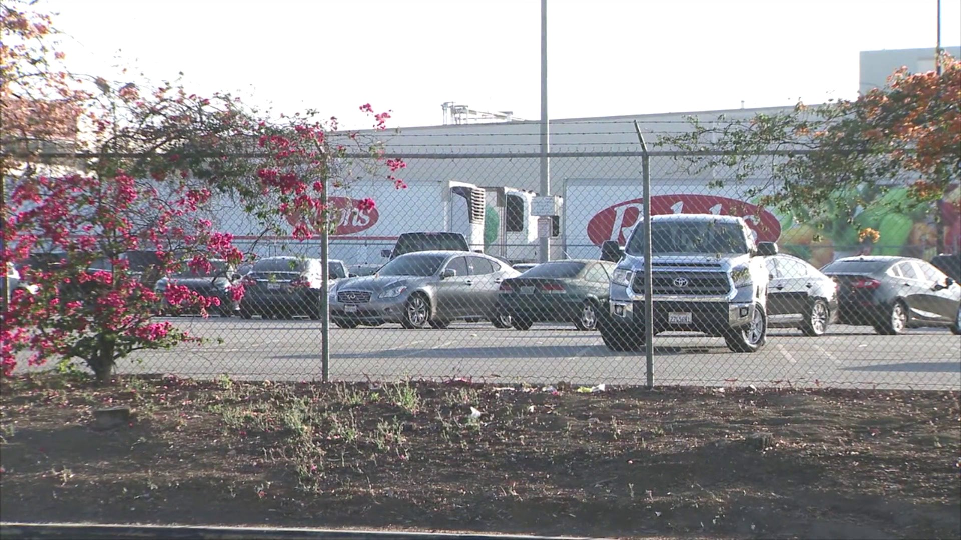 A Ralphs distribution center is seen in Compton. (KTLA)