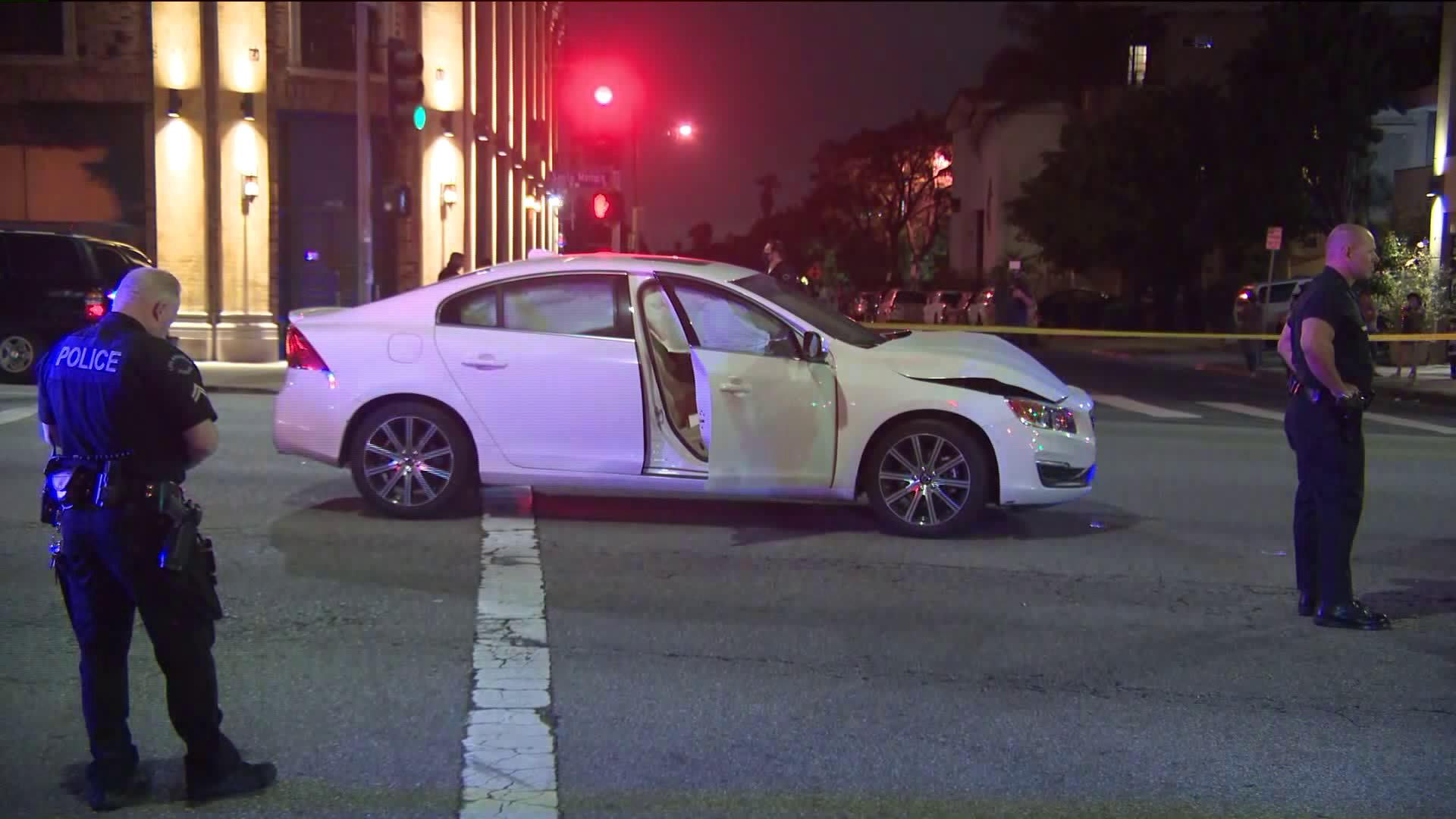 Two officers were transported to the hospital after a traffic collision in Sawtelle on July 22, 2020. (KTLA)