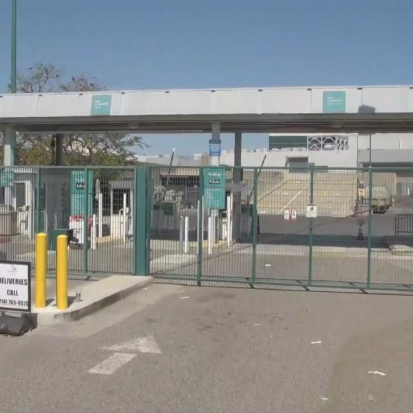 The gates to the Anaheim Convention Center are seen on July 14, 2020, a day before a coronavirus testing site was set to open there. (KTLA)
