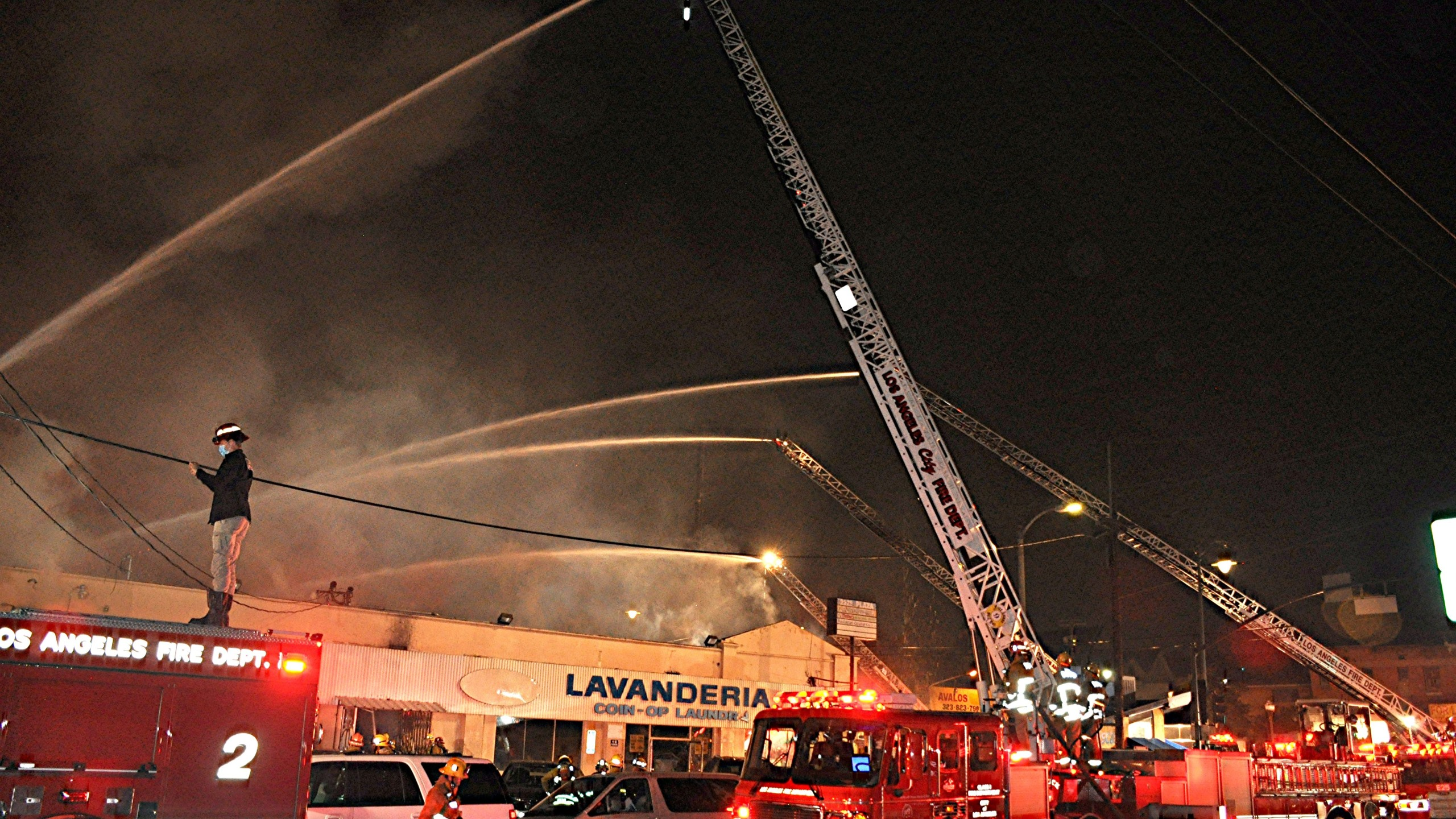 The Los Angeles Fire Department released this photo of crews responding to a blaze in the 2200 block of First Street in Boyle Heights on July 14, 2020.