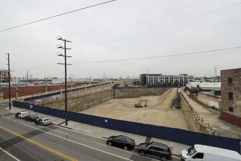 An undated file photo shows the site of the 520 Mateo project, a planned 35-story tower in the Arts District developed by the San Francisco-based real estate firm Carmel Partners. (Irfan Khan / Los Angeles Times)