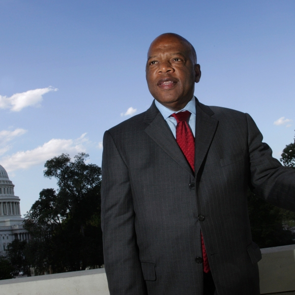 U.S. Rep. John Lewis is seen on Capitol Hill with the Capitol Dome in the background on Oct. 10, 2007. (Lawrence Jackson / Associated Press)