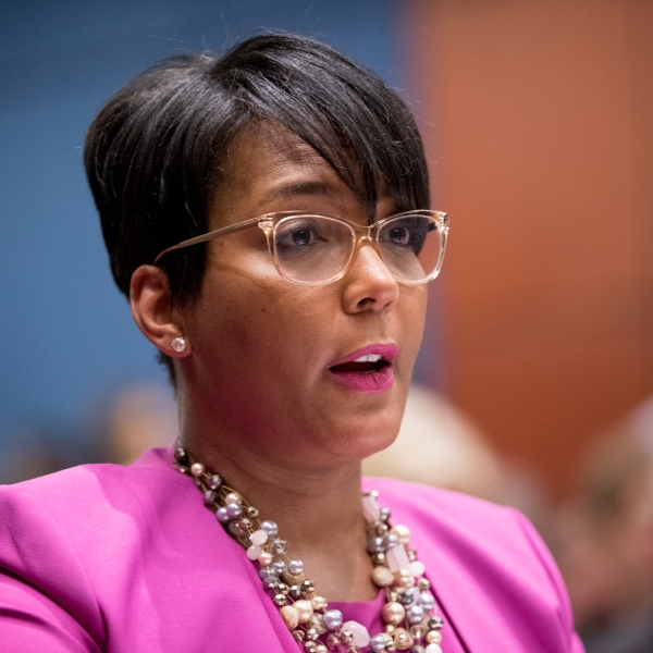 In this July 17, 2019, file photo, Atlanta Mayor Keisha Lance Bottoms speaks during a Senate Democrats' Special Committee on the Climate Crisis on Capitol Hill. (Andrew Harnik/Associated Press)
