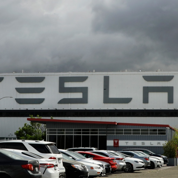 The Tesla plant is seen in in Fremont, California on May 12, 2020. (AP Photo/Ben Margot, File)