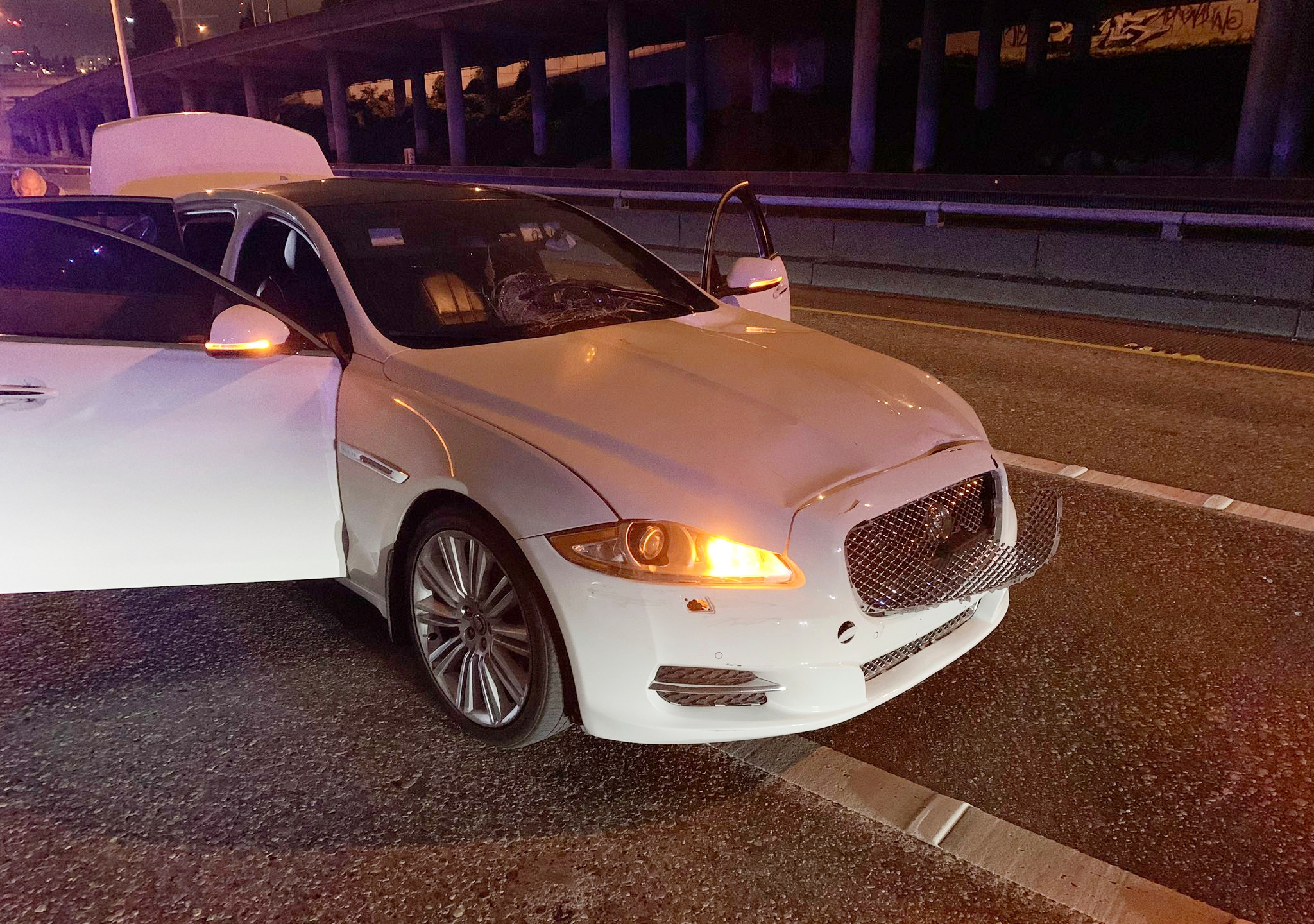 This early Saturday, July 4, 2020 photo provided by the Washington State Patrol shows the vehicle of Dawit Kelete who is suspected of driving into a protest on Interstate 5 in Seattle. (Washington State Patrol via AP)